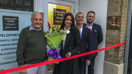 Former nightclub owner Ken Bean,with Charlotte Fogel, Joe Fogel and Levi Draycott at the official o