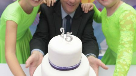 Buttermarket Shopping Centre, Ipswich, celebrate 25th anniversary - manager, Andrew Wilcox with Ruby
