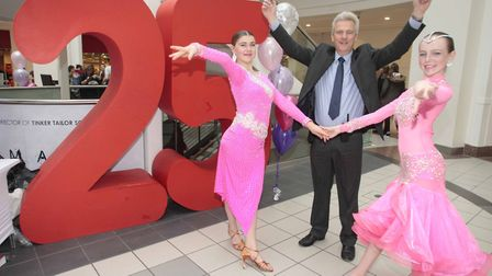 Buttermarket Shopping Centre, Ipswich, celebrates 25th anniversary - manager Andrew Wilcox with Ange