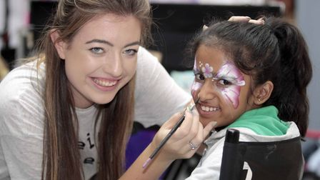 Buttermarket Shopping Centre, Ipswich, celebrates 25th anniversary - Annanya Ghate getting her face