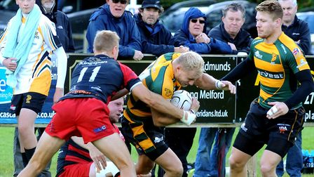 Chris Snelling, in the thick of the action during Bury St Edmunds' home win over Old Redcliffians la