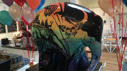 One of the elephants in Elmer's Big Parade being displayed in the Town Hall. Picture: MEGAN ALDOUS