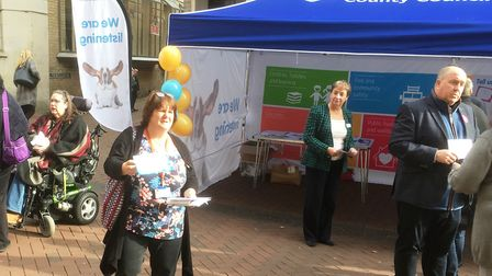Kathy Bole, Sandra Gage, Jane Storey and Colin Noble meeting the public at Ipswich town centre. Pict