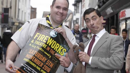 Mr Has Bean, pictured with Adam Goffin, will be in Ipswich town centre launching this year's Christc