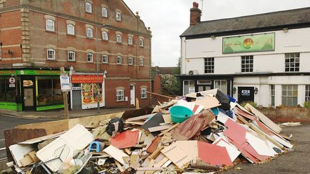 A huge pile of rubbish has been dumped on the side of the road in Norwich Road, Ipswich Picture: EM