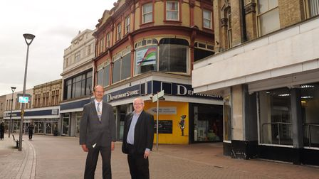 Sandy Martin MP and borough council leader David Ellesmere outside the former Co-op in Carr Street e