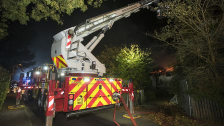 Fire in a derelict thatched house on The Street, near Humber Doucy Lane. Picture: ASHLEY PICKERING
