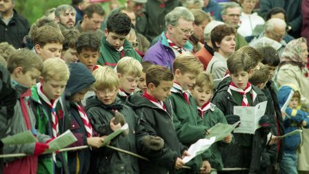 Scouts attended the Remembrance Day service at Christchurch Park in 1994