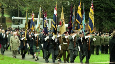 Standard bearers on parade at the Remembrance Day service at Christchurch Park in 1994