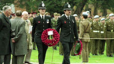 Policemen at the Remembrance Day service at Christchurch Park in 1994
