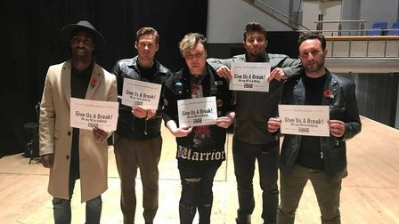 Macauley Elvin and boy band Blue promoting the Anna Kennedy Online 'Give Us A Break' anti-bullying c