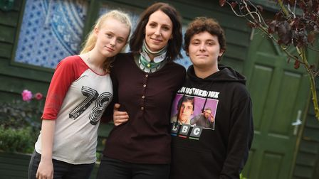 Astrid Fjellbrook with her children Daisy and Marshall. Picture: GREGG BROWN