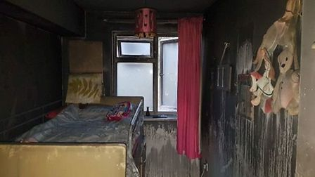 The Clarke family's home in Ipswich's Stoke Park Drive after a fire. Picture: SEANI MOORE
