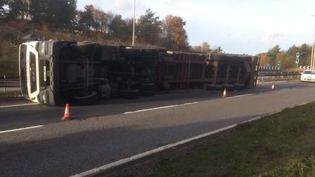 A lorry has overturned on the A14 near Felixstowe. Picture: SUFFOLK POLICE