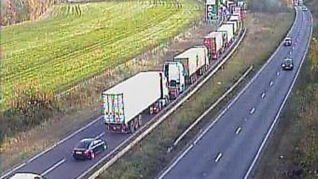 Traffic on the A14 eastbound after an accident at the Dockspur roundabout near Felixstowe. Picture: