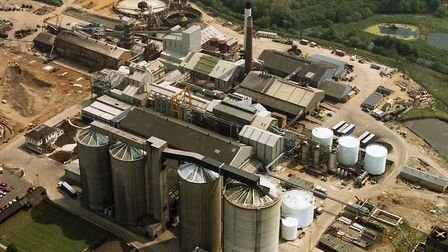 The Sproughton sugar beet factory in May 1989. Only the silos remain today. Picture: DAVID KINDRED