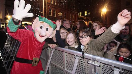 Emily Madder, Hannah Coulthard, Lucy Madder and Sophie Madder at the Ipswich Christmas lights switch