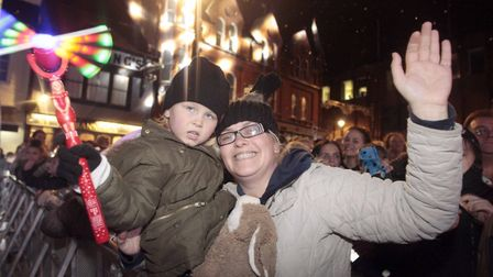 Kirsty Button with Harriett Hunter at the Ipswich Christmas lights switch on at the Cornhill. Pictur