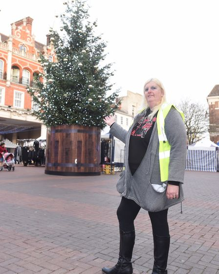 Sylvia Mitchell, who last year petitioned to have a real tree return to the Cornhill in Ipswich. Pic