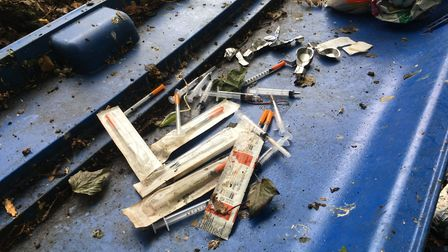 Discarded needles and drug paraphernalia found by police near Alderman Road Recreation Ground in Ips