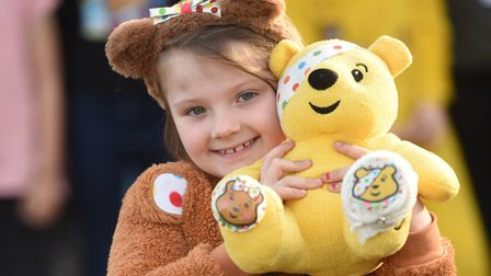 Lexi, a pupil at Hillside Primary School in raising money for Children in Need. Picture is Lex.i P