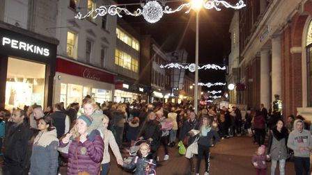 Ipswich Christmas Lights Switch on from Cornhill Square. Picture: NIGEL BROWN