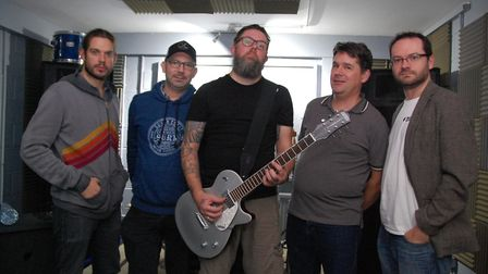 DarkSeed members at rehearsal, from left to right: Russell Swallow (vocals), Mark Pritchard (bass),
