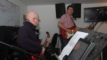 Mark Pritchard (left) rehearsing with DarkSeed. Picture: CONTRIBUTED