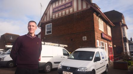 Simon Aalders outside The Royal Oak in 2016 during its conversion into The Recovery Hub. Picture: LU