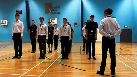 Suffolk New College students are put through their paces by the Royal Marines. Picture: JOHN NICE