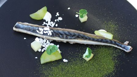 Mackerel starter with apple, horseradish and compressed cucumber from the new Get Set lunch menu at
