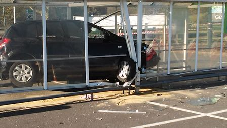 A car crashed into a trolley park at Asda in Ipswich today. Picture: ADRIAN MATTHEWS