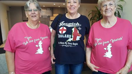 """Women from the 'Yes! We are from Ipswich"""" Facebook group wear their IPswich t-shirts with pride on t"""