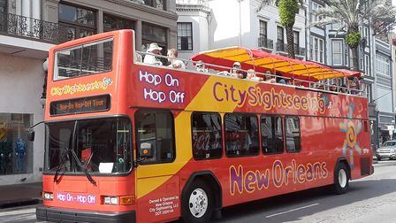 The group went on a guided open-top bus tour around the city. Picture: JANE TUOHEY