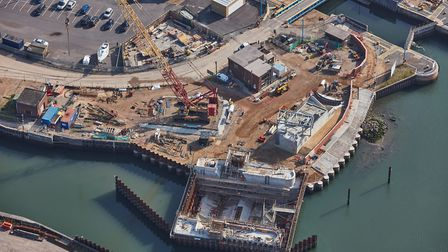 Aerial photos show how the tidal barrier is shaping up. PICTURE: ENVIRONMENT AGENCY