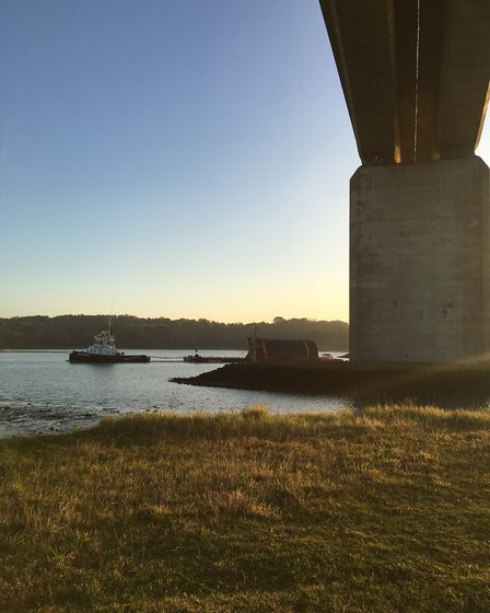 The Ipswich Barrier Gate going past the Orwell Bridge. Picture: ENVIRONMENT AGENCY