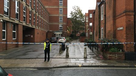 The cordon in place in Lower Brook Street, Ipswich. Picture: JASON NOBLE