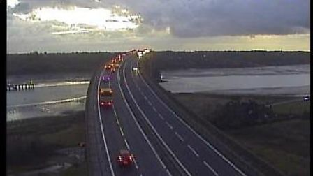 The Orwell Bridge was open as normal on Thursday morning. Picture: HIGHWAYS ENGLAND