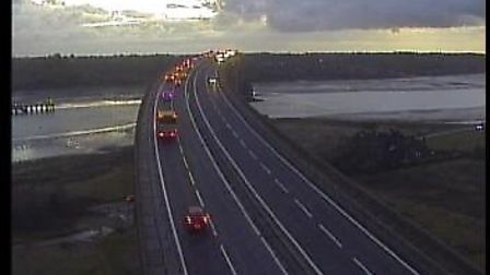 The Orwell Bridge this morning. Picture: HIGHWAYS ENGLAND