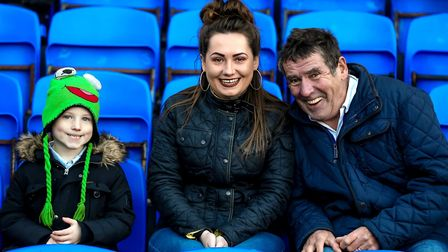 These fans were keeping warm at Portman Road on Saturday.