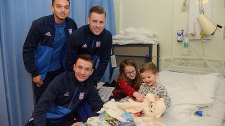 Ipswich Town stars Andre Dozzell, Adam Webster and Bersant Celina visit Isabella and Leo Boon at Ips
