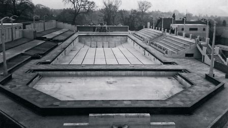 A feast of angles, levels and concrete detailing - Broomhill Pool awaits filling in 1938. The aerato