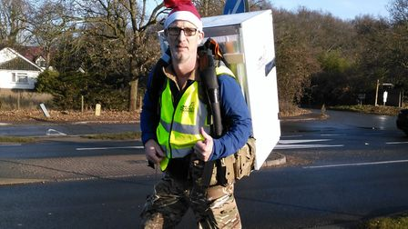 Alasdair Ross at the end of an earlier walk - he will not be carrying a fridge this time! Picture: A