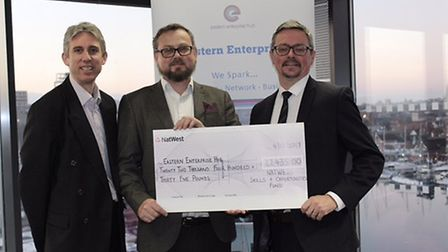Nick Winter and Digby Cracksfield of the Eastern Enterprise Hub with Gavin Brooks of NatWest.