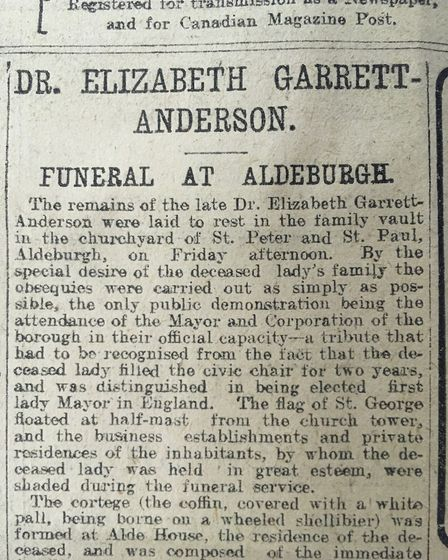 The Evening Star report of the funeral of Dr Elizabeth Garrett Anderson on December 21, 1917. Pictur
