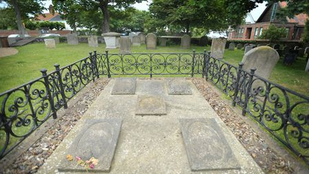 The grave of Elizabeth Garrett Anderson, and members of her family, at Aldeburgh Church - pictured i