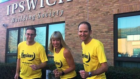 From left, Carl Ashton, race director, Fiona Hotston Moore, partner at Ensors Chartered Accountants,