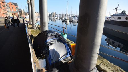 Rough sleepers set up camp on Ipswich Waterfront earlier this year. Picture: GREGG BROWN