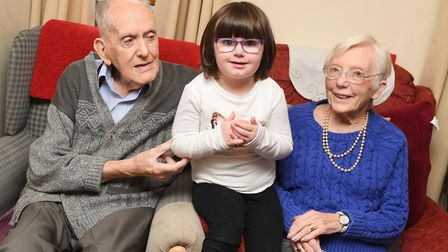 St John's Playtime Pre School pay Shaftesbury House Care Home residents a visit. Left to right, Ron