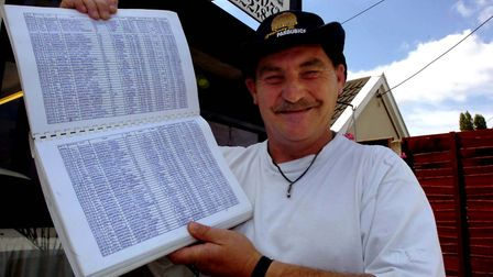 Nigel 'Noddy' Fordham, who has died. Pictured here with the book he kept of his many trips across En